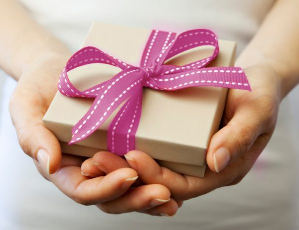 gift package with pink bow