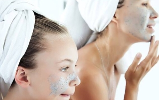 mother and daughter facial